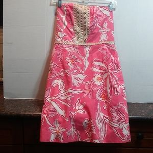Lilly Pulitzer Strapless Dress with Gold Braiding.
